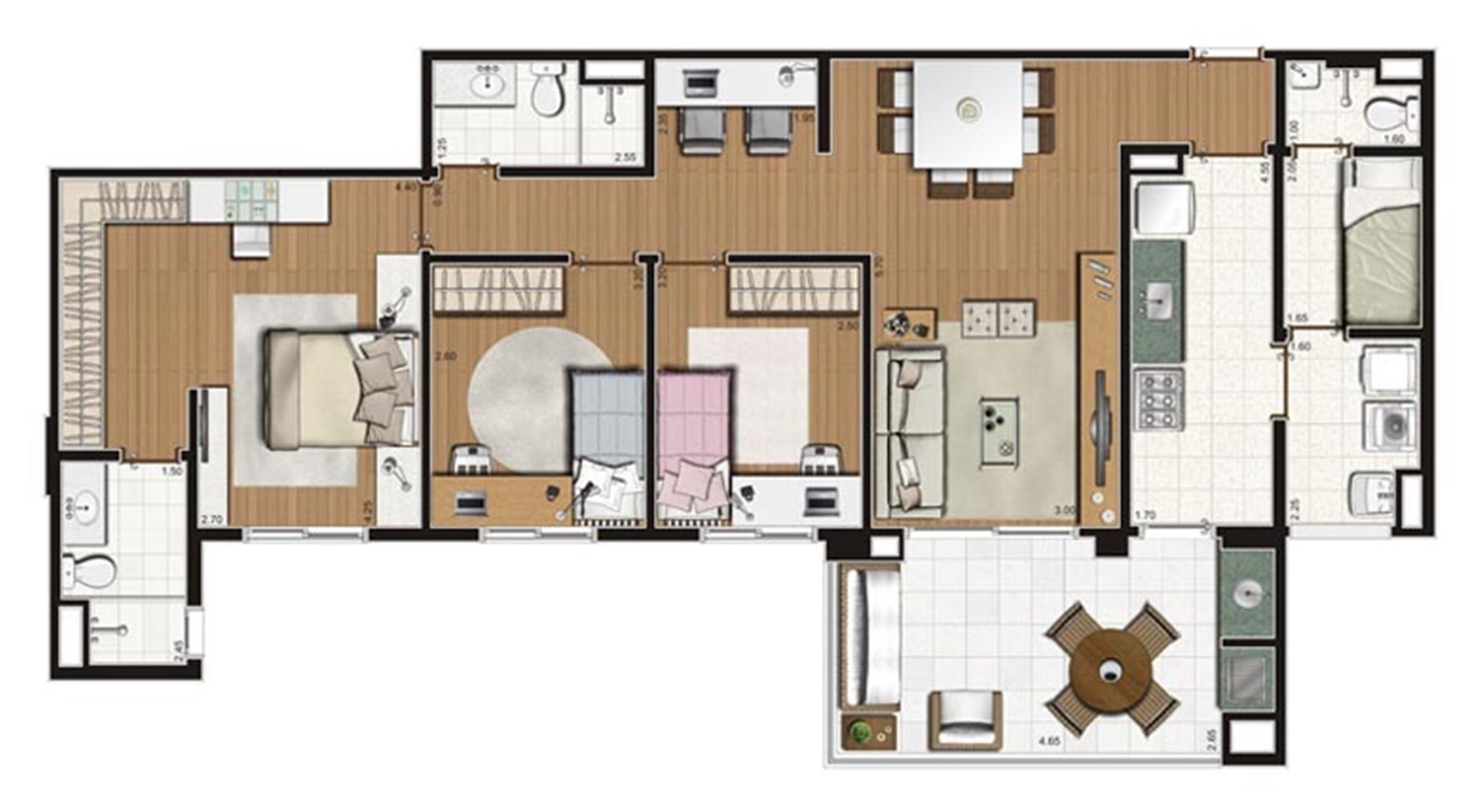 Planta-tipo apartamento de 112 m² privativos 3 dorms (1 suíte) | Luzes da Mooca - Villaggio Luna – Apartamento na  Mooca - São Paulo - São Paulo