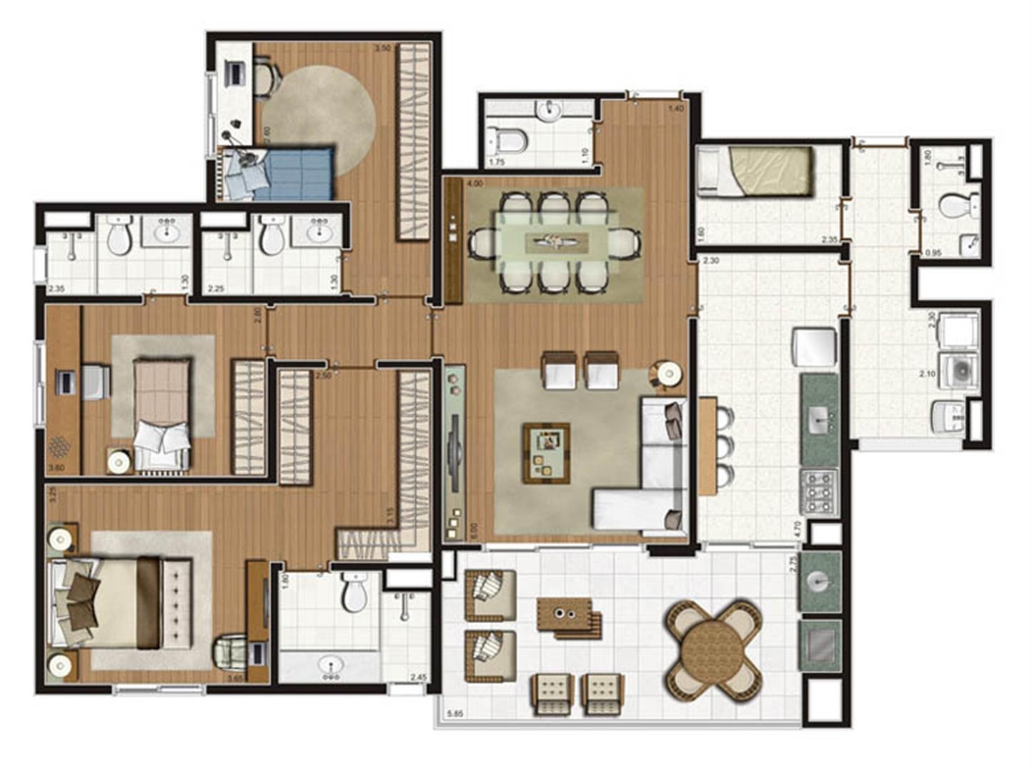 Planta-tipo apartamento de 141 m² privativos 3 suítes | Luzes da Mooca - Villaggio Luna – Apartamento na  Mooca - São Paulo - São Paulo