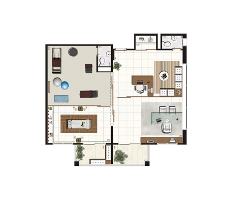 Planta sugestão de junção de saletas de 100 m² | Luzes da Mooca - Atrio Giorno – Salas Comerciaisna  Mooca - São Paulo - São Paulo