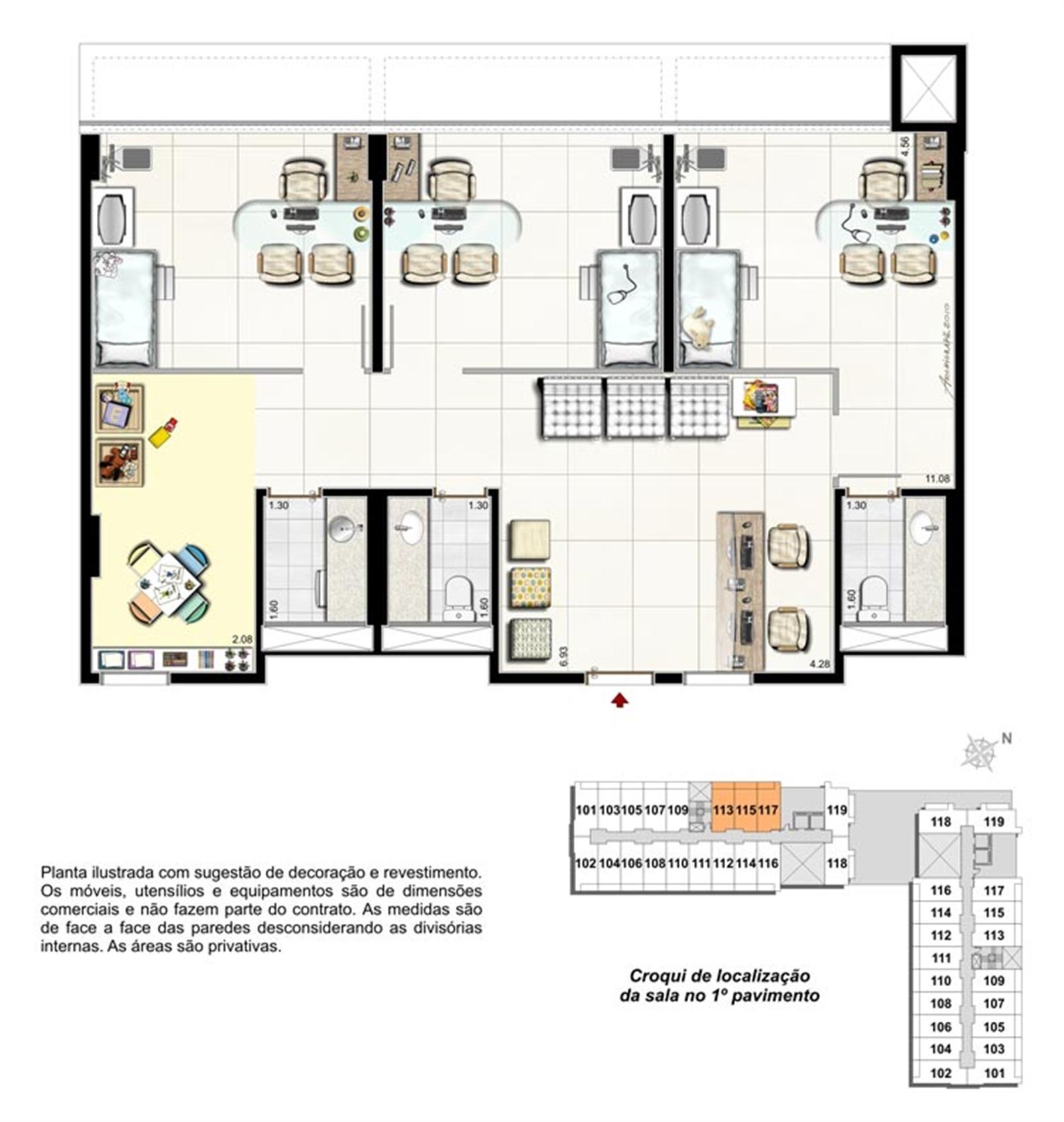 Planta da Sala 13, 15 e 17 - Pediatra | Biosphere – Salas Comerciaisna  Asa Norte  - Brasília - Distrito Federal