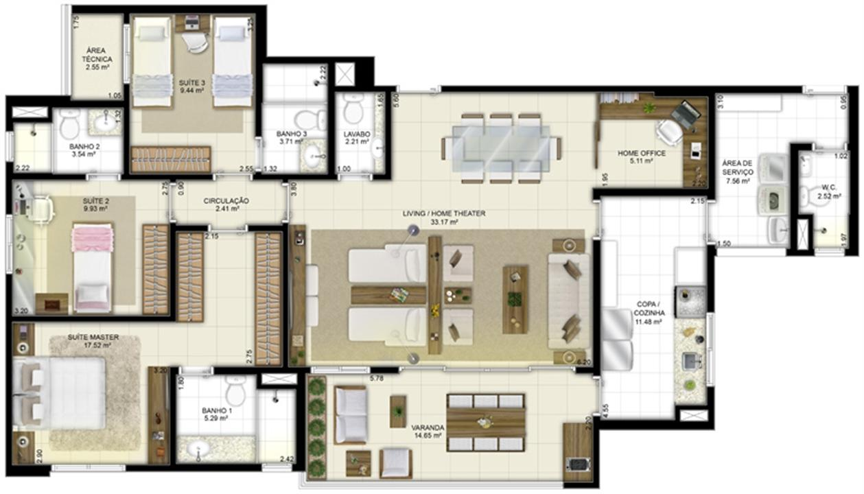 Planta - Tipo - 3 suítes (living ampliado e home office) - 131 m² | Jardim de Vêneto – Apartamentoem  Altos do Calhau - São Luís - Maranhão