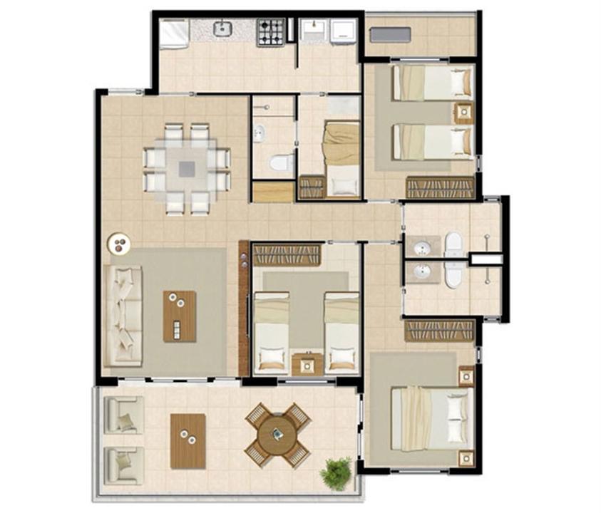 Apartamento Brisa - 104 m² | Mandara Lanai – Apartamentono  Porto das Dunas - Aquiraz - Ceará