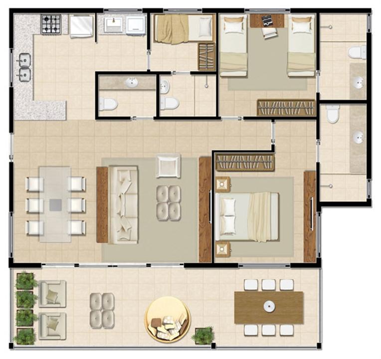 Bangalô Superior - 112 m² | Mandara Lanai – Apartamentono  Porto das Dunas - Aquiraz - Ceará