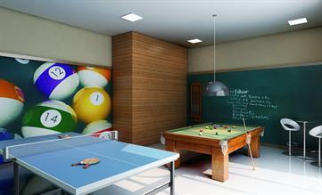 Perspectiva ilustrada do Salão de jogos