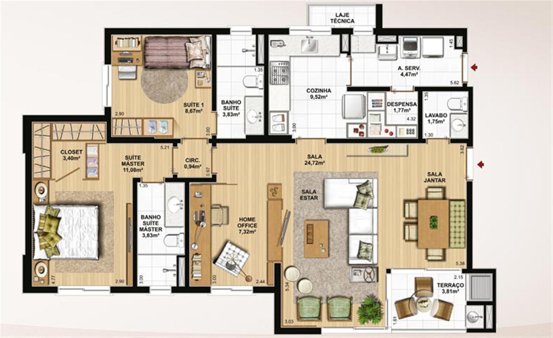 106 m² privativos, 2 suítes, despensa e sala ampliada | Le Jardin Residencial – Apartamento no  Água Verde - Curitiba - Paraná
