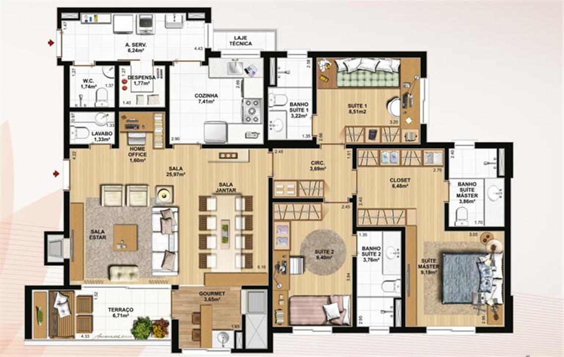 129 m² privativos, despensa e home office | Le Jardin Residencial – Apartamentono  Água Verde - Curitiba - Paraná
