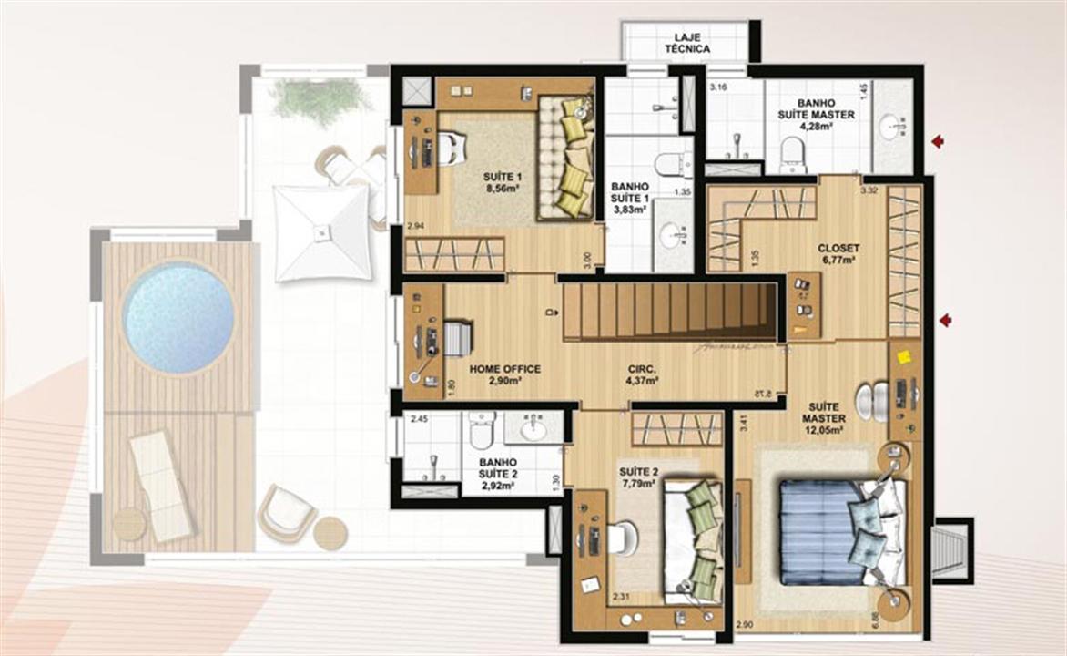 Duplex 174 m² privativos  pavimento superior | Le Jardin Residencial – Apartamentono  Água Verde - Curitiba - Paraná