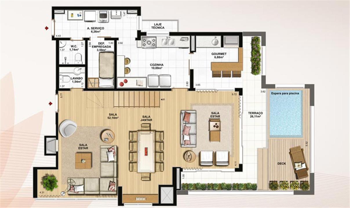 Duplex 226 m² privativos  pavimento inferior | Le Jardin Residencial – Apartamentono  Água Verde - Curitiba - Paraná