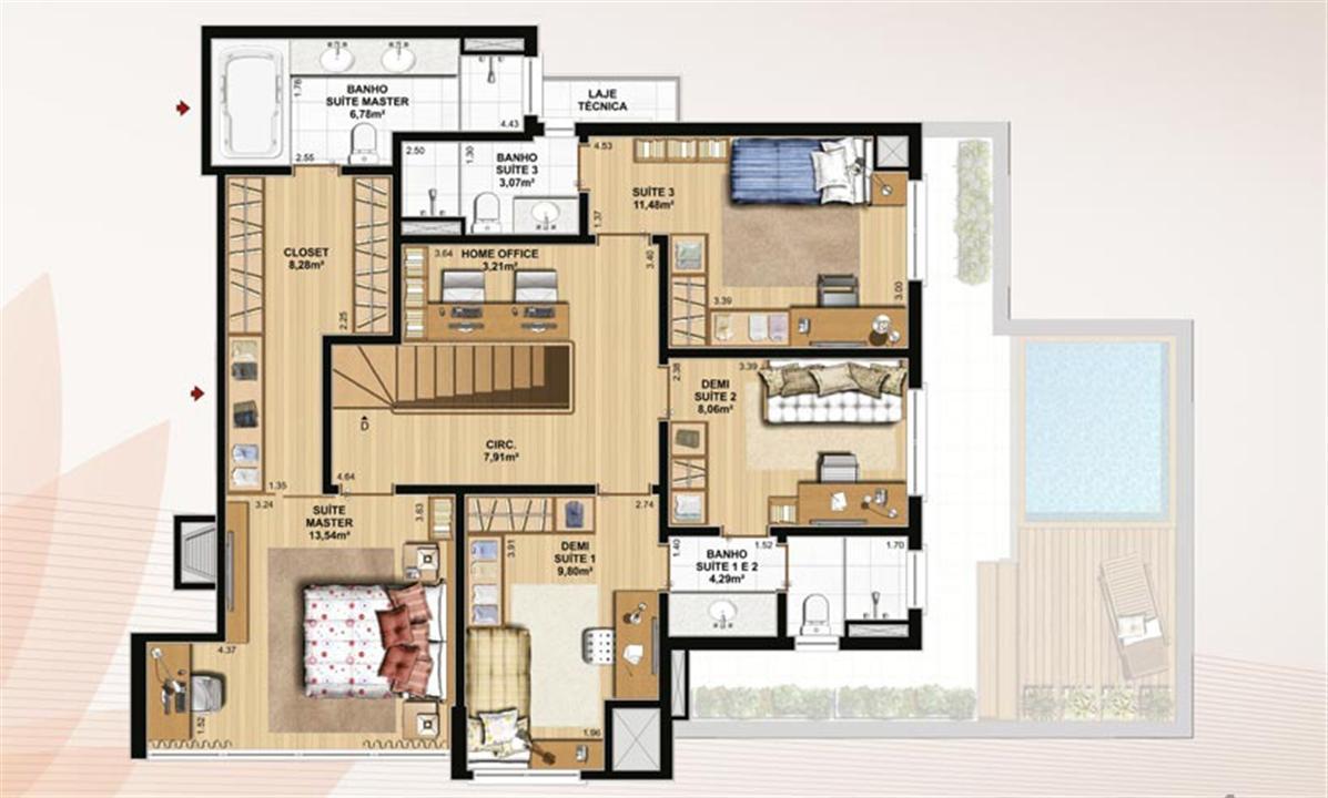 Duplex 226 m² privativos  pavimento superior | Le Jardin Residencial – Apartamentono  Água Verde - Curitiba - Paraná