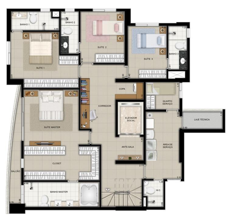 Planta duplex inferior final 1 | Domani LifeStyle – Apartamentono  Setor Marista - Goiânia - Goiás