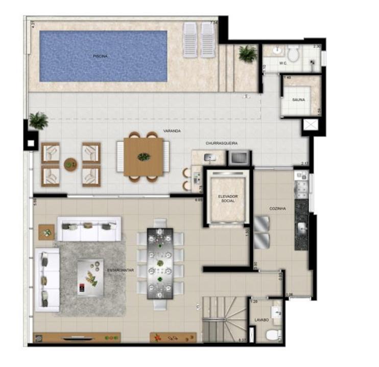 Planta duplex superior final 1 | Domani LifeStyle – Apartamentono  Setor Marista - Goiânia - Goiás