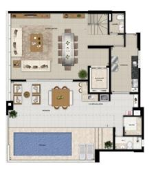 Planta duplex superior final 2 | Domani LifeStyle – Apartamento no  Setor Marista - Goiânia - Goiás