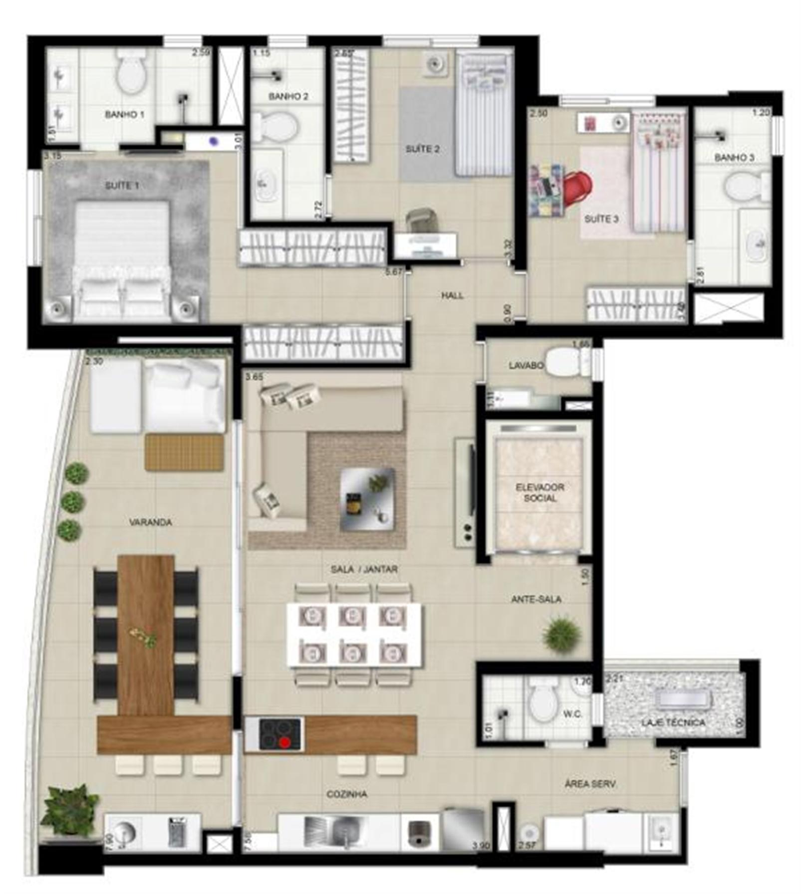 Planta tipo 4º ao 8º pavimentos decorado | Domani LifeStyle – Apartamentono  Setor Marista - Goiânia - Goiás