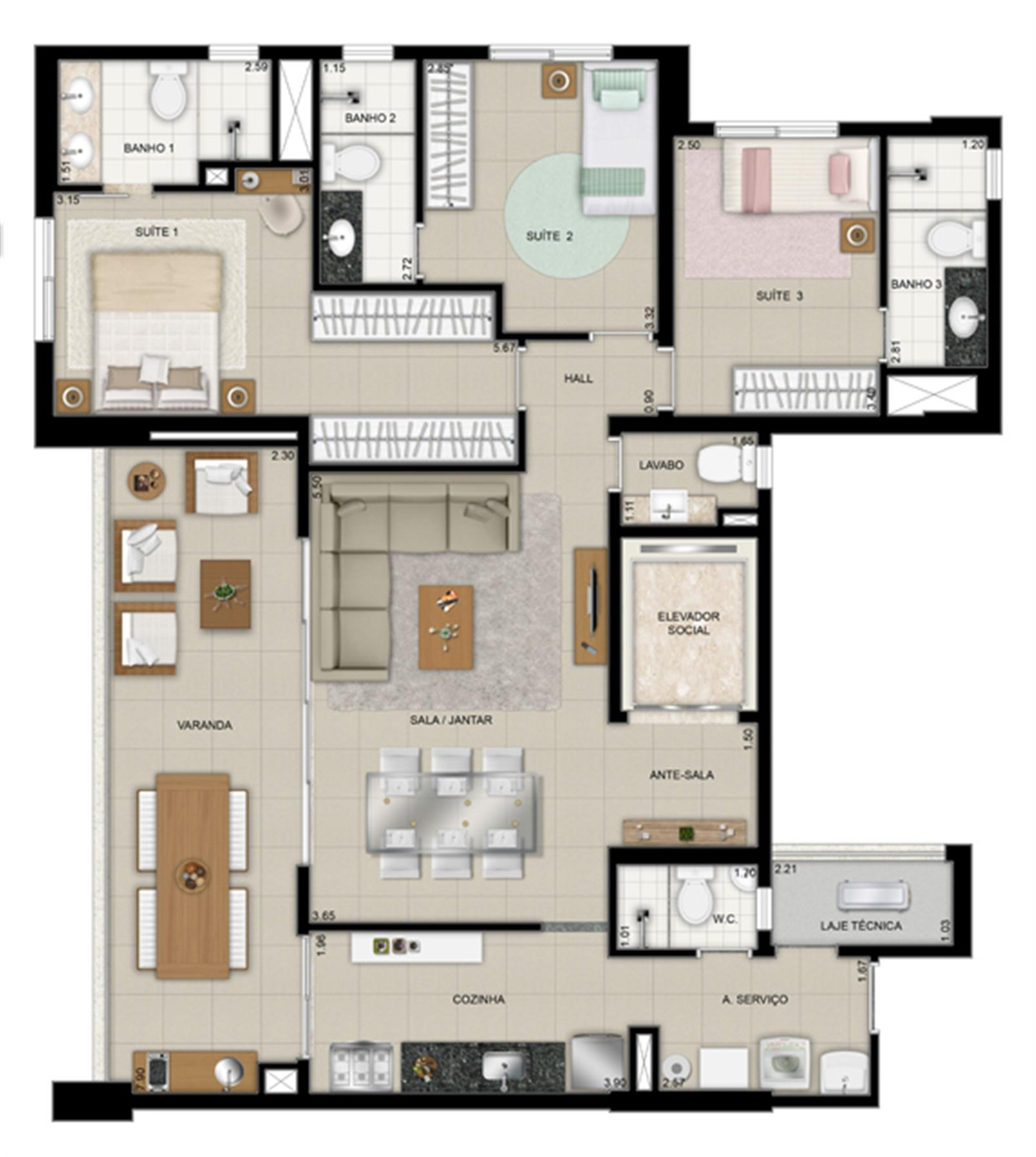 Planta tipo 9º ao 26º pavimento | Domani LifeStyle – Apartamentono  Setor Marista - Goiânia - Goiás