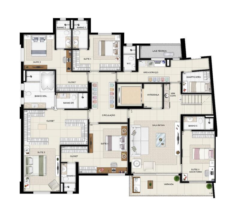 Duplex inferior torre Parc - 461m² | Domani LifeStyle – Apartamentono  Setor Marista - Goiânia - Goiás