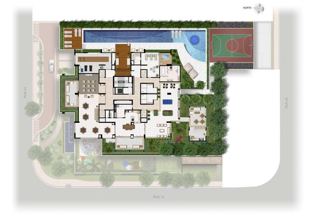 Perspectiva Ilustrada da Implantação Lazer | Domani LifeStyle – Apartamentono  Setor Marista - Goiânia - Goiás