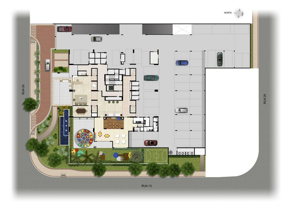 Perspectiva Ilustrada da Implantação Térro | Domani LifeStyle – Apartamentono  Setor Marista - Goiânia - Goiás