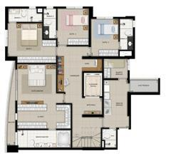 Planta Duplex Pavimento Inferior | Domani LifeStyle – Apartamento no  Setor Marista - Goiânia - Goiás