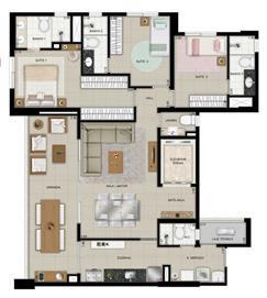 Planta Tipo 2 - 125m² | Domani LifeStyle – Apartamento no  Setor Marista - Goiânia - Goiás