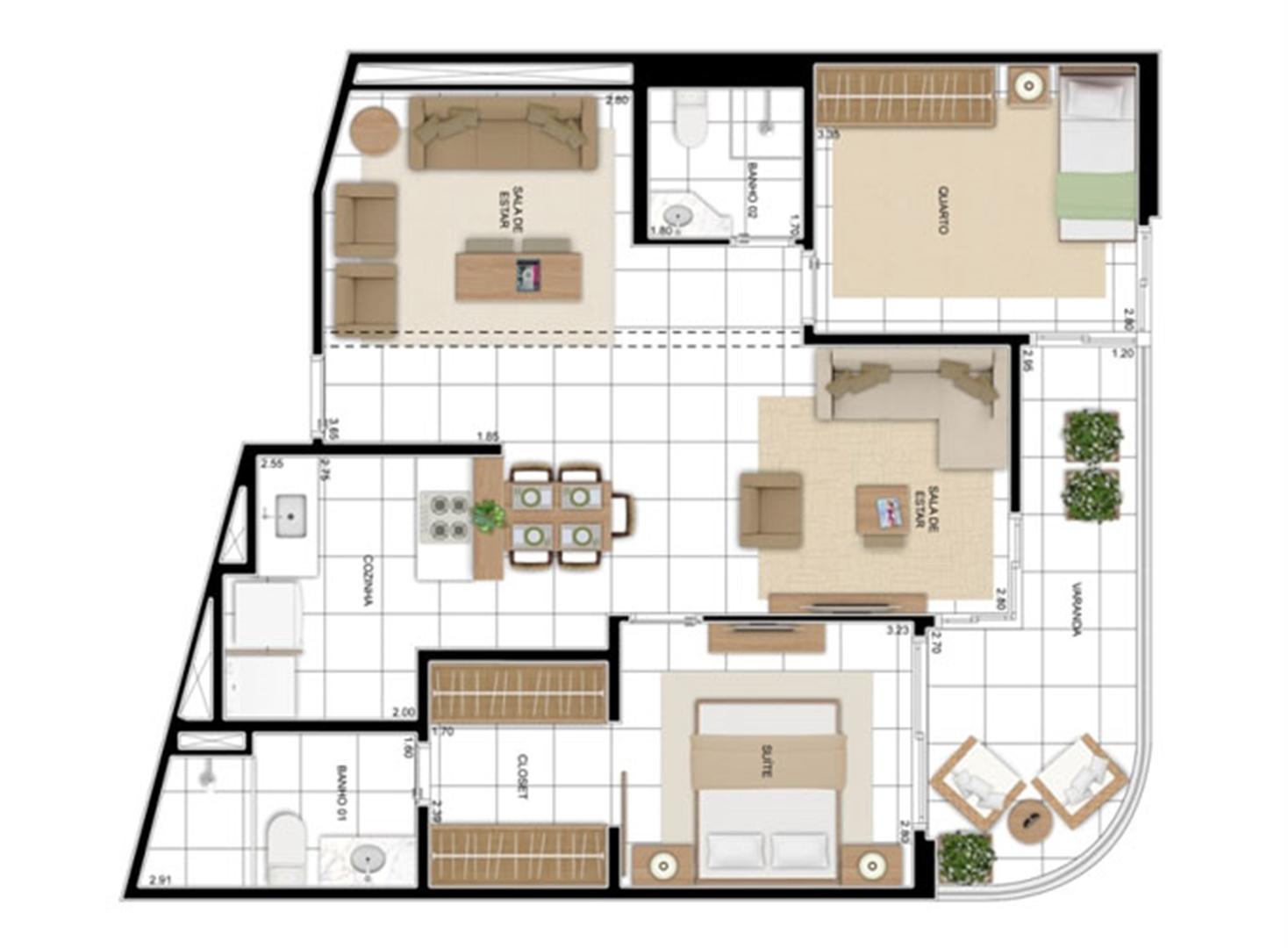 PLANTA - APTO TIPO A - 82 m² - OPÇÃO 02 DORMS COM SUÍTE - KIT BANHO  | In Mare Bali – Apartamento no  Distrito Litoral de Cotovelo - Parnamirim - Rio Grande do Norte