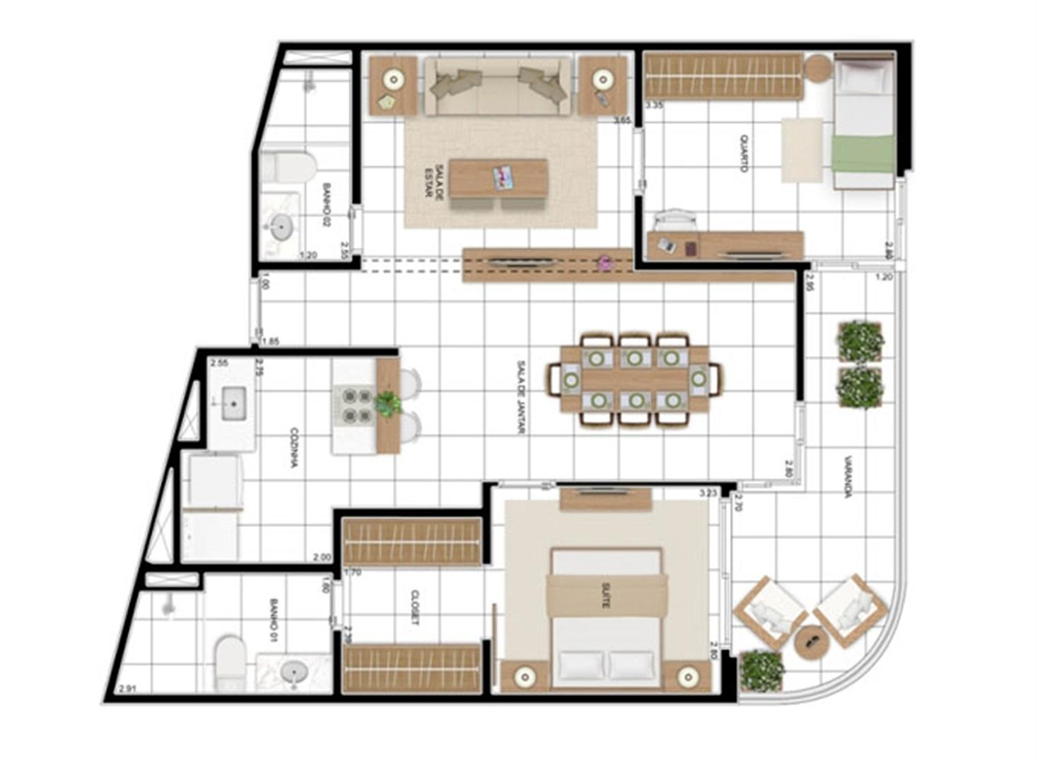 PLANTA - APTO TIPO A - 82 m² - OPÇÃO 2 DORMS COM SUÍTE (01)  | In Mare Bali – Apartamento no  Distrito Litoral de Cotovelo - Parnamirim - Rio Grande do Norte