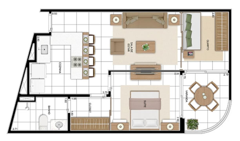 PLANTA - APTO TIPO C1 - 57 m²  | In Mare Bali – Apartamentono  Distrito Litoral de Cotovelo - Parnamirim - Rio Grande do Norte