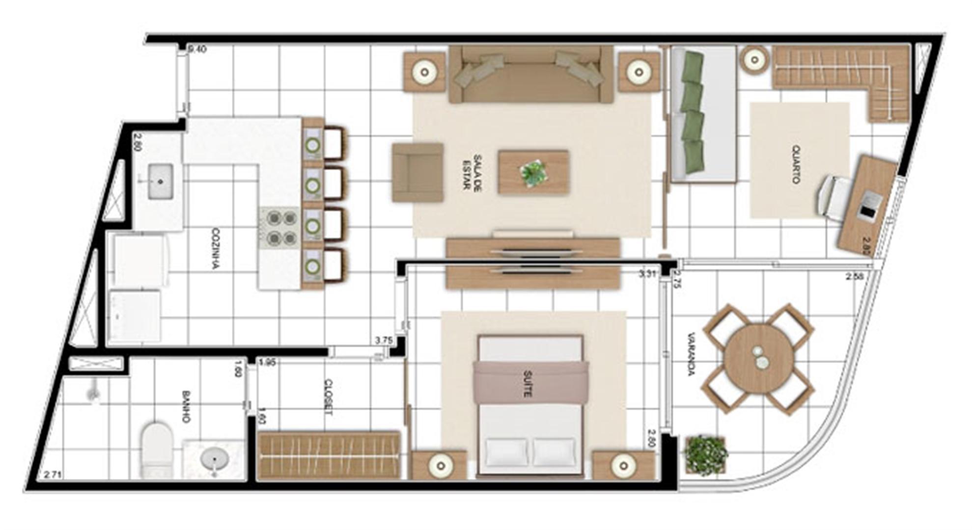 PLANTA - APTO TIPO C2 - 59 m²  | In Mare Bali – Apartamento no  Distrito Litoral de Cotovelo - Parnamirim - Rio Grande do Norte