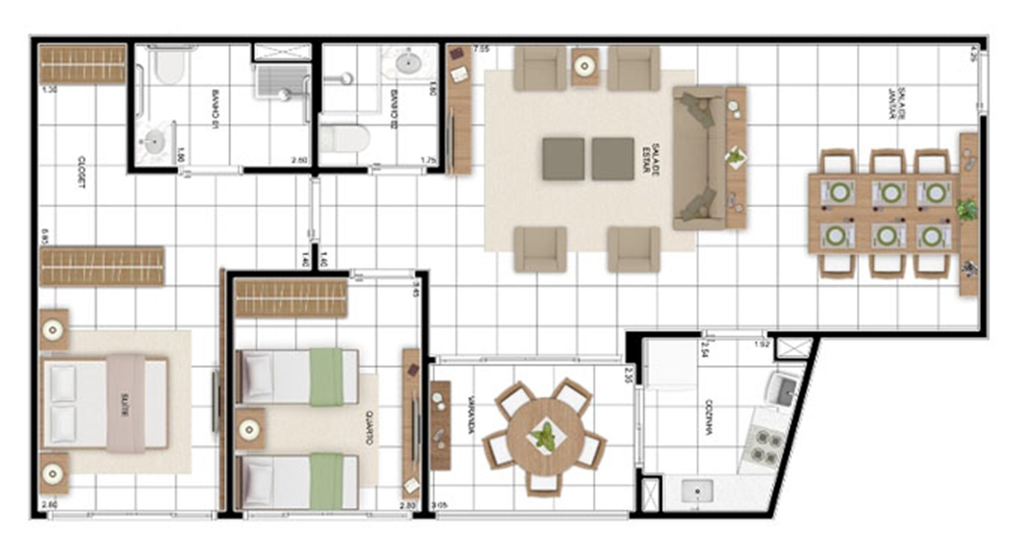 PLANTA - APTO TIPO D - 95 m² (ADAPTADA PARA PNE)  | In Mare Bali – Apartamento no  Distrito Litoral de Cotovelo - Parnamirim - Rio Grande do Norte