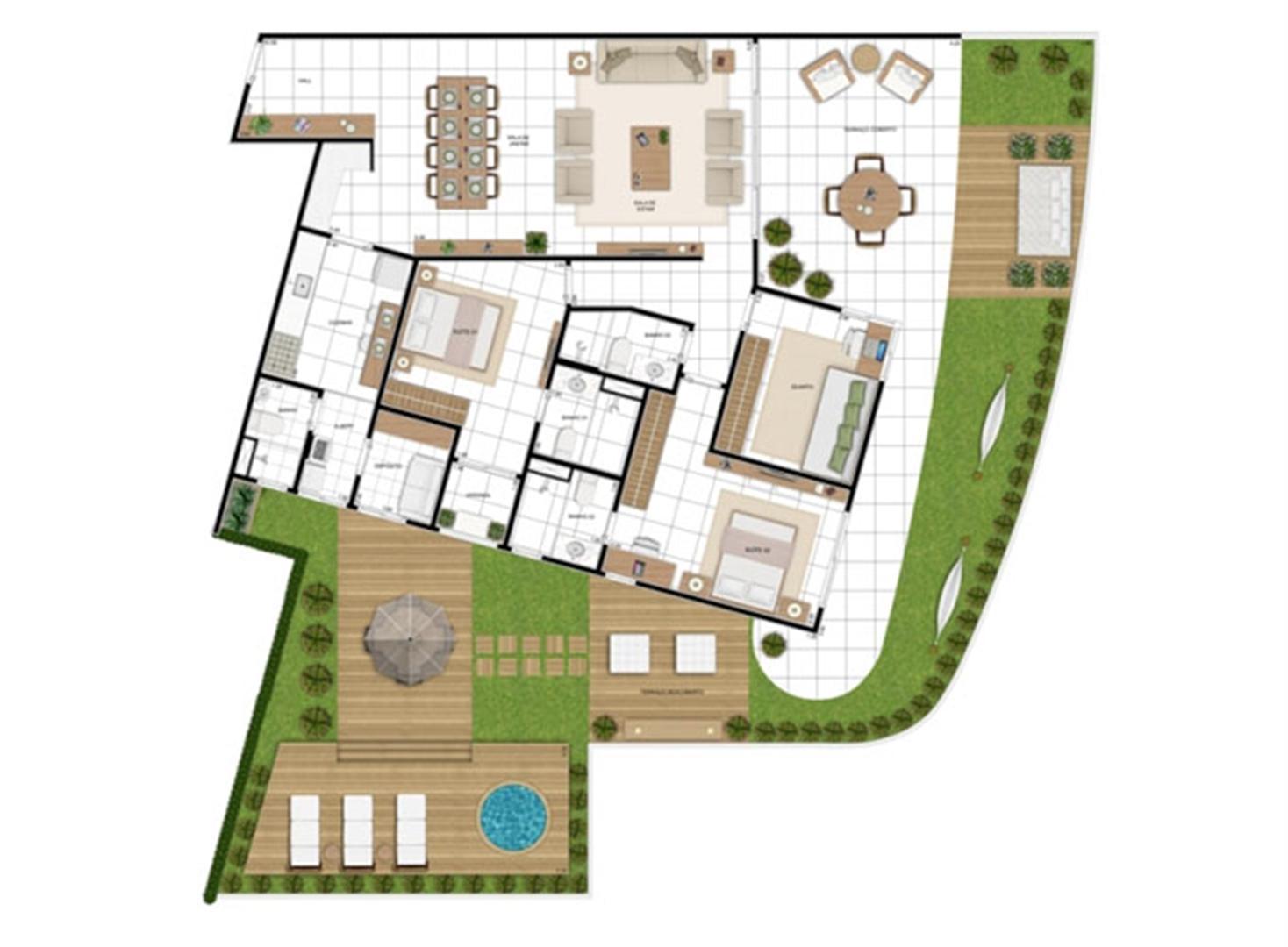 PLANTA - APTO TIPO E - MAISON 258 m²  | In Mare Bali – Apartamento no  Distrito Litoral de Cotovelo - Parnamirim - Rio Grande do Norte