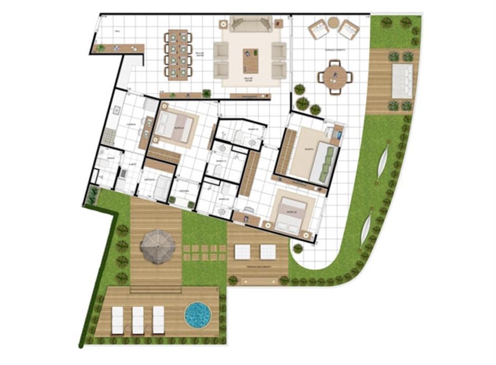 PLANTA - APTO TIPO E - MAISON 258 m²  | In Mare Bali – Apartamentono  Distrito Litoral de Cotovelo - Parnamirim - Rio Grande do Norte