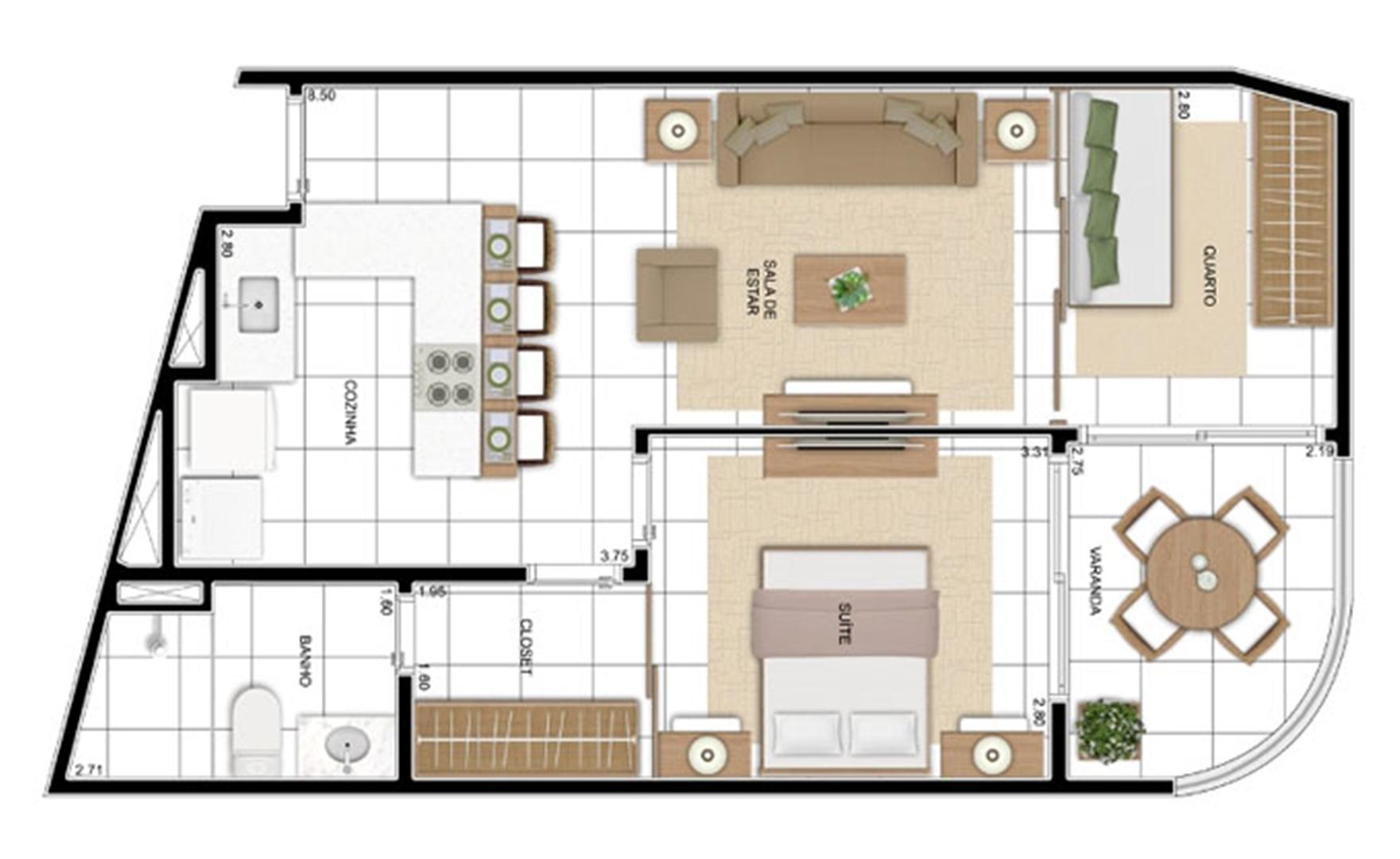 PLANTA - APTO TIPO OPÇÃO C3 - 56 m²  | In Mare Bali – Apartamento no  Distrito Litoral de Cotovelo - Parnamirim - Rio Grande do Norte