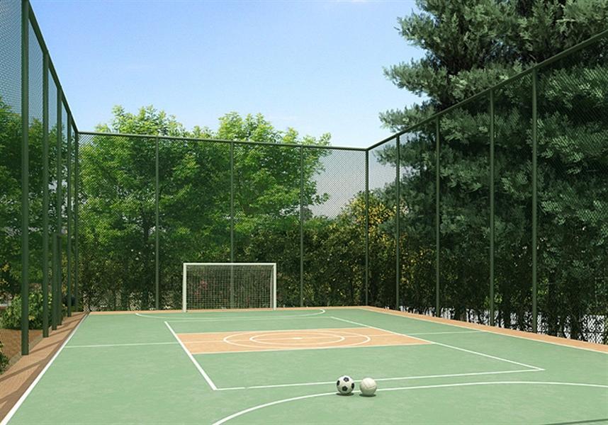 jardim vertical autocad:Perspectiva ilustrada Quadra de Esportes