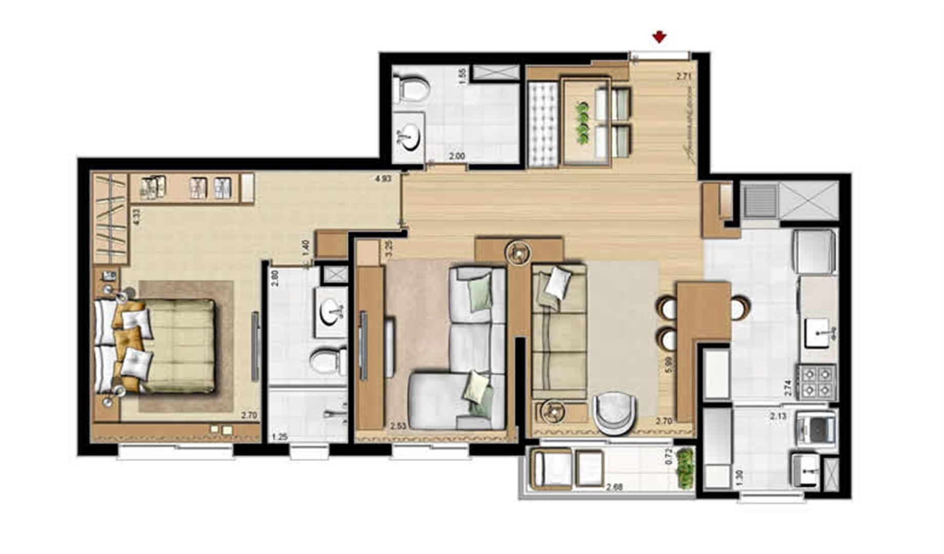 Opção 1 suíte, living estendido e lavabo - 69 m² privativos e 107 m² área total | Villa Mimosa Vita Insolaratta – Apartamento no  Centro - Canoas - Rio Grande do Sul