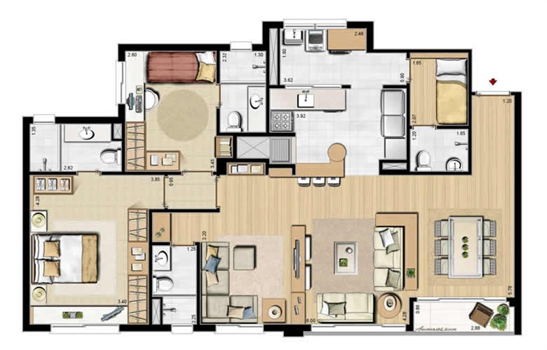 Opção 2 suítes, living estendido e dependência completa - 113 m² privativos e 175 m² área total | Villa Mimosa Vita Insolaratta – Apartamentono  Centro - Canoas - Rio Grande do Sul