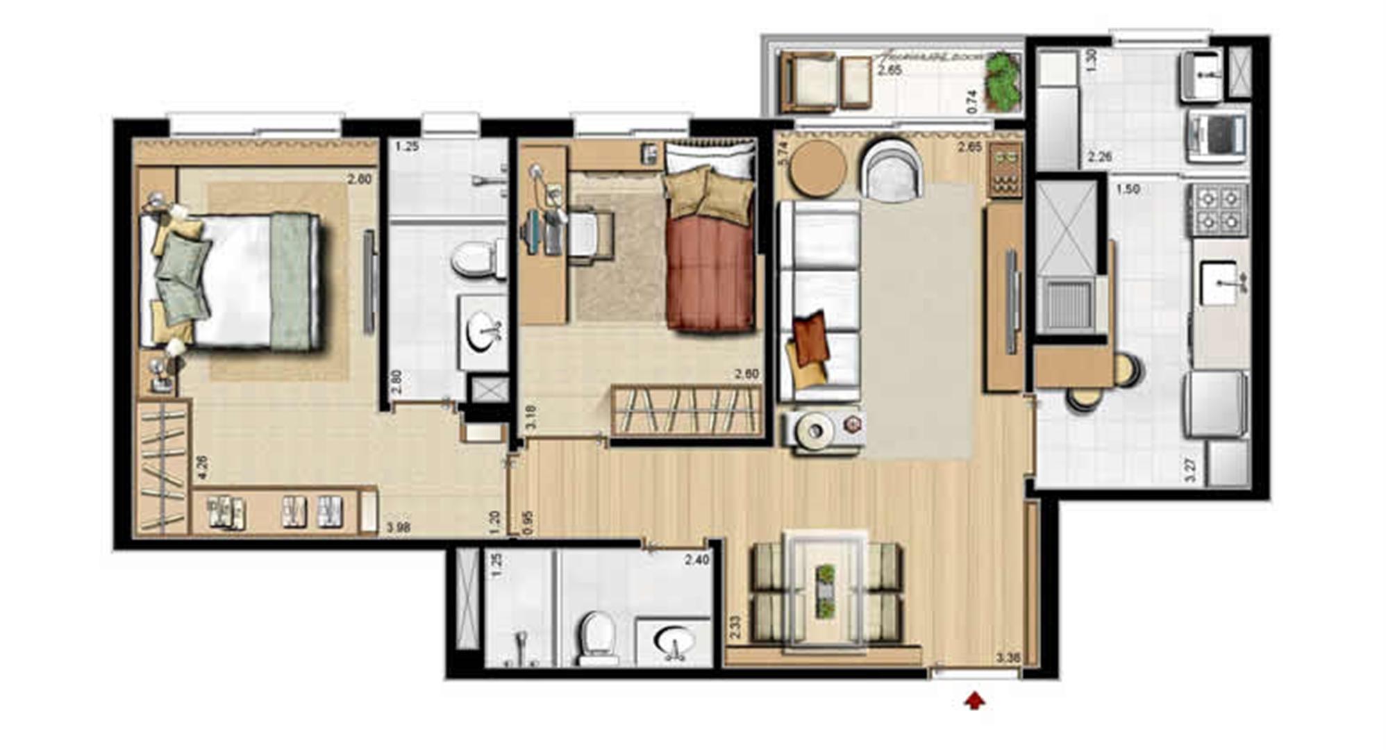 Opção cozinha fechada - 68 m² privativos e 105 m² área total | Villa Mimosa Vita Insolaratta – Apartamento no  Centro - Canoas - Rio Grande do Sul