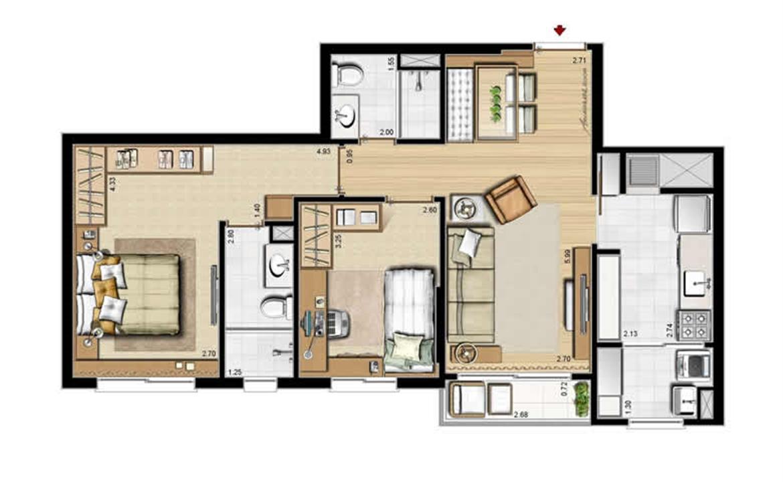 Opção cozinha fechada - 69 m² privativos e 107 m² área total | Villa Mimosa Vita Insolaratta – Apartamentono  Centro - Canoas - Rio Grande do Sul
