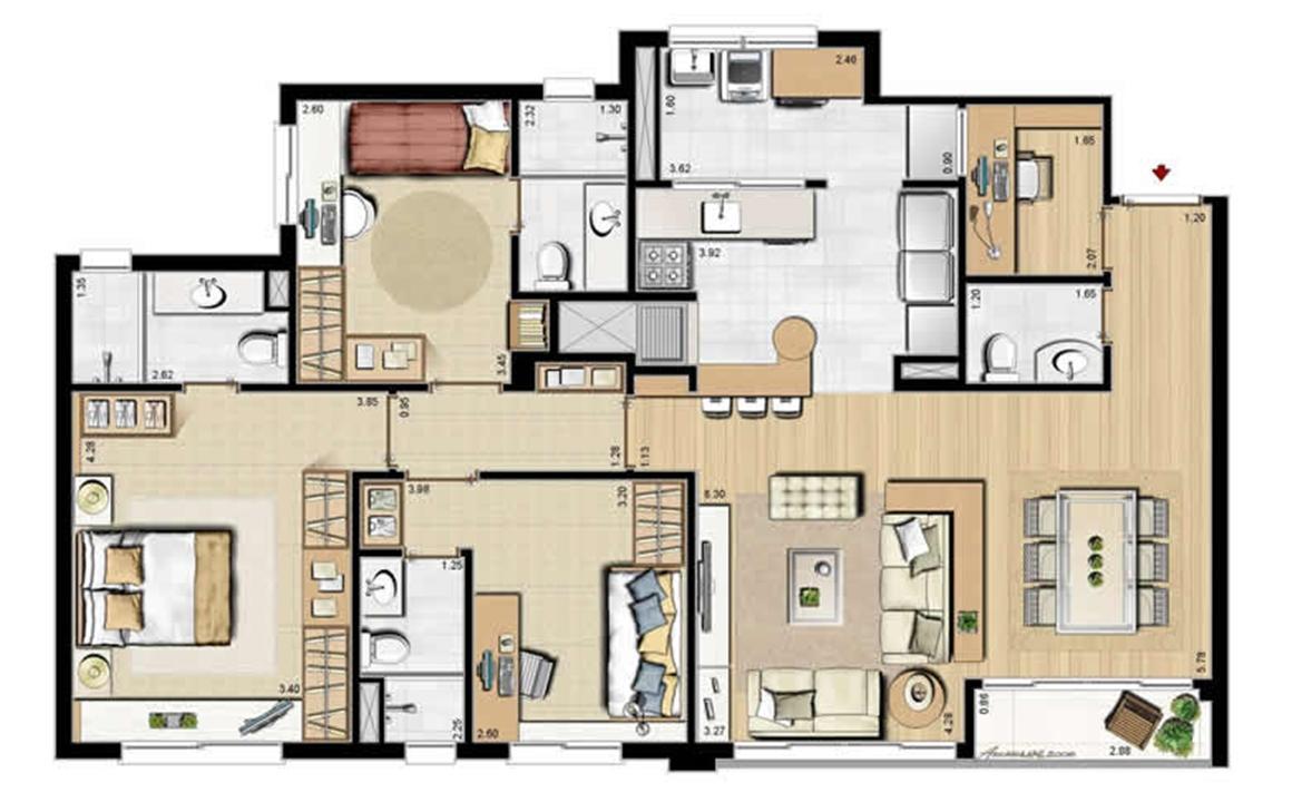 Opção dependência completa - 69 m² privativos e 107 m² área total | Villa Mimosa Vita Insolaratta – Apartamentono  Centro - Canoas - Rio Grande do Sul