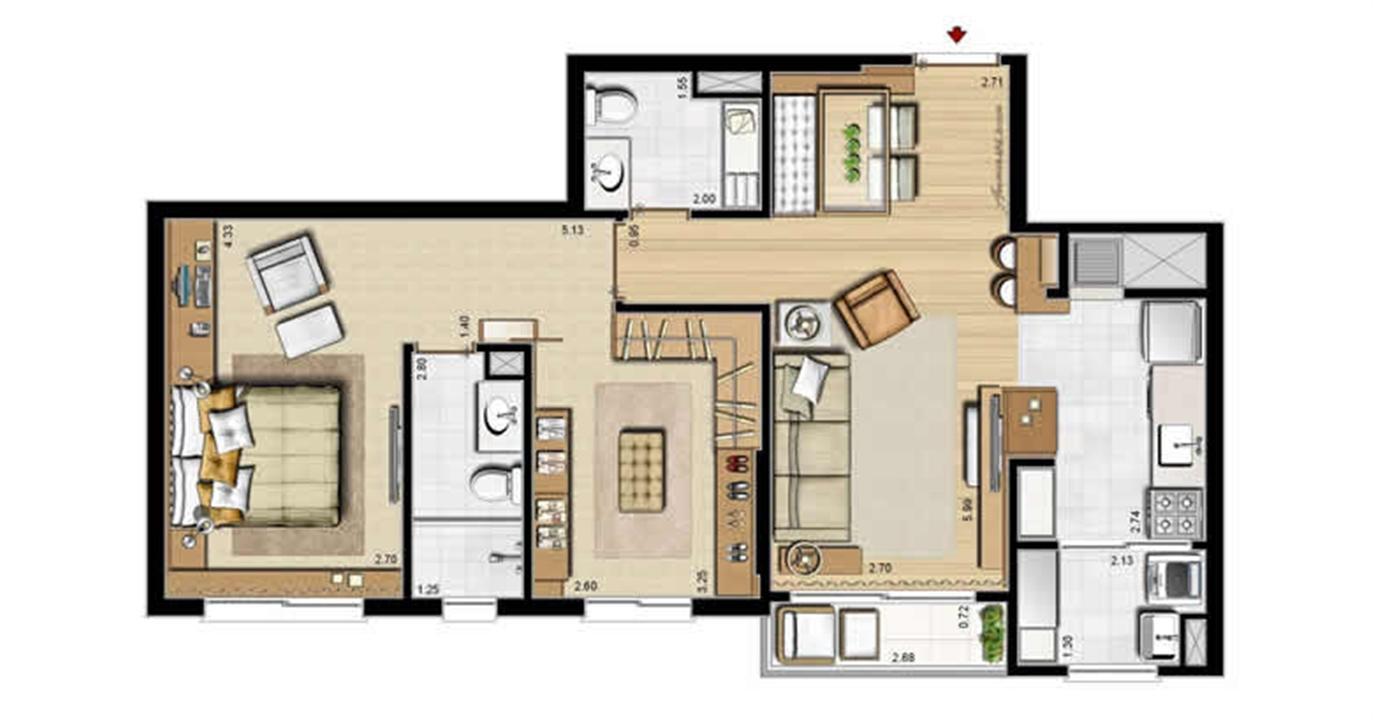 Opção suíte master e lavabo - 69 m² privativos e 107 m² área total | Villa Mimosa Vita Insolaratta – Apartamentono  Centro - Canoas - Rio Grande do Sul
