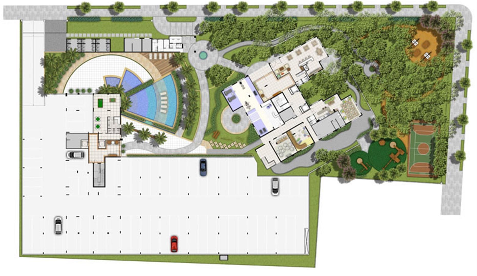 Perspectiva ilustrada Estrutura e Lazer | Villa Mimosa Vita Insolaratta – Apartamento no  Centro - Canoas - Rio Grande do Sul