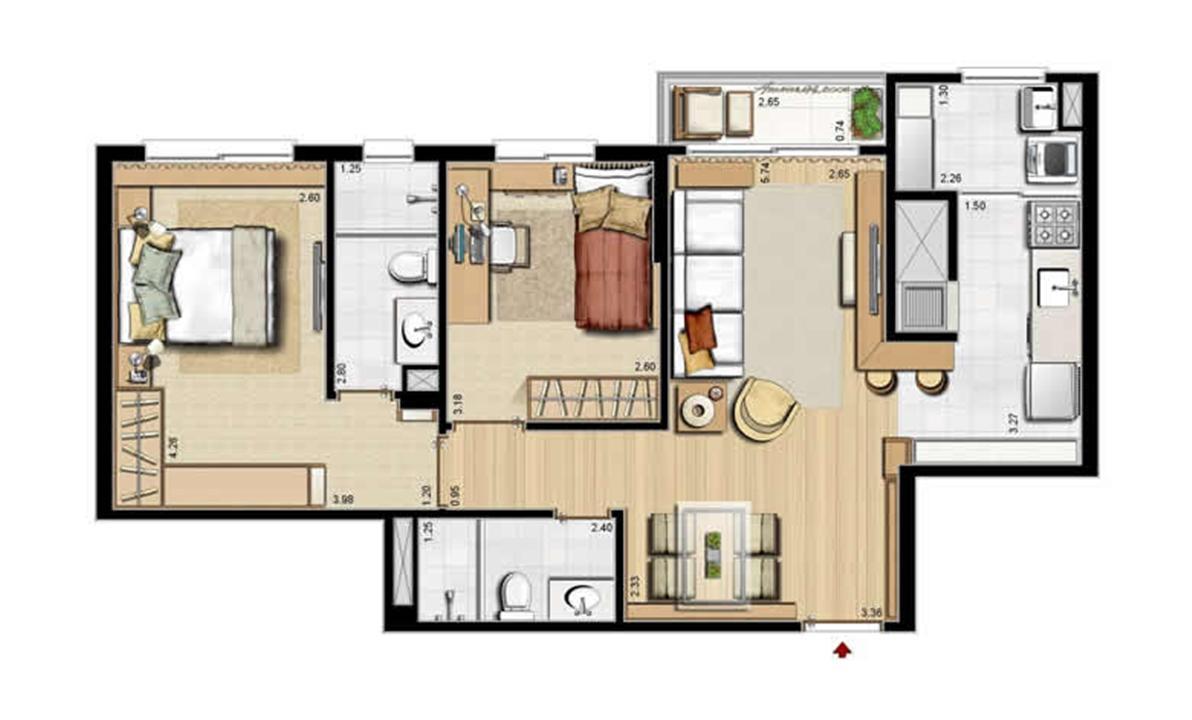 Planta padrão - 2 dormitórios, sendo 1 suíte - 68 m² privativos e 105 m² área total | Villa Mimosa Vita Insolaratta – Apartamentono  Centro - Canoas - Rio Grande do Sul