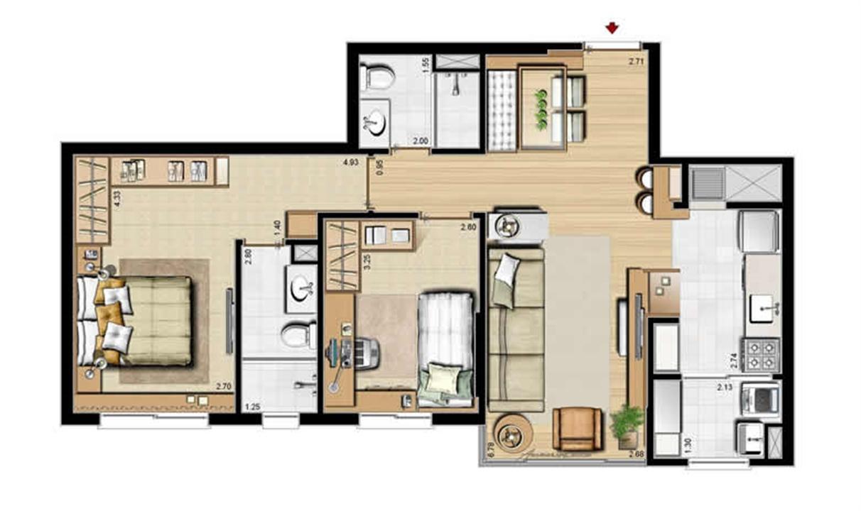 Planta padrão - 2 dormitórios, sendo 1 suíte - 69 m² privativos e 107 m² área total (2) | Villa Mimosa Vita Insolaratta – Apartamentono  Centro - Canoas - Rio Grande do Sul