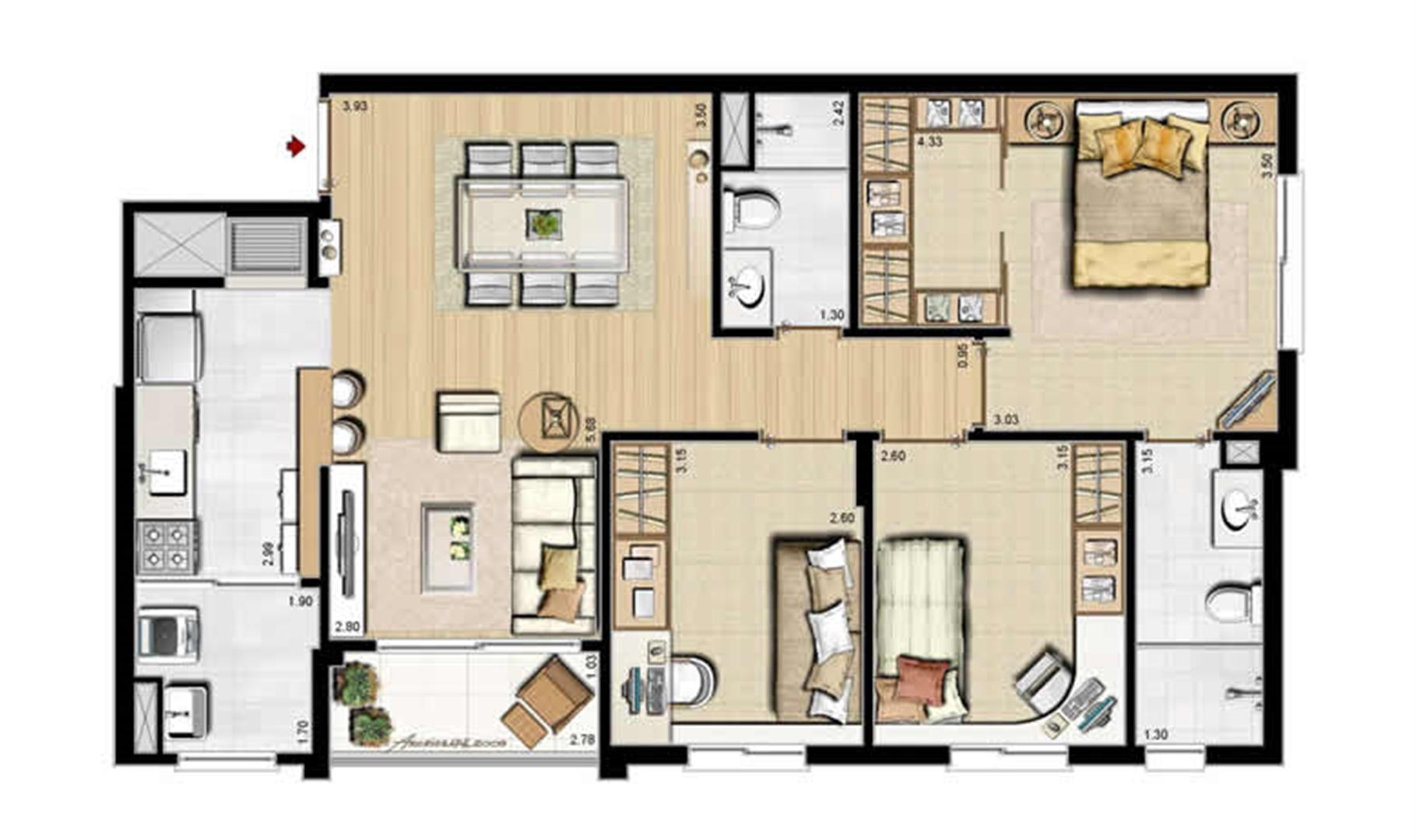 Planta padrão - 3 dormitórios, sendo 1 suíte - 84 m² privativos e 130 m² área total | Villa Mimosa Vita Insolaratta – Apartamento no  Centro - Canoas - Rio Grande do Sul
