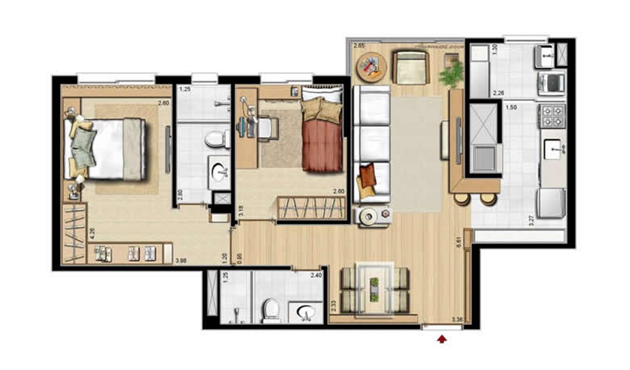 Sacada Integrada – Sugestão de Decoração - 68 m² privativos e 105 m² área total | Villa Mimosa Vita Insolaratta – Apartamentono  Centro - Canoas - Rio Grande do Sul