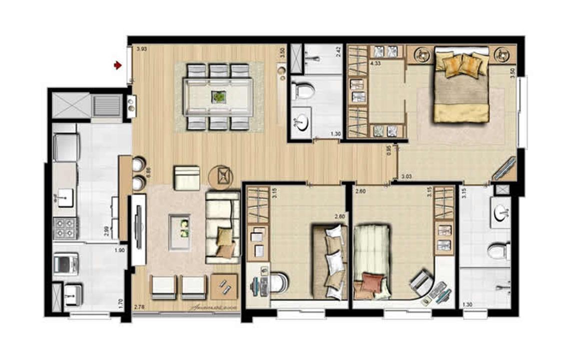 Sacada Integrada – Sugestão de Decoração - 84 m² privativos e 130 m² área total | Villa Mimosa Vita Insolaratta – Apartamentono  Centro - Canoas - Rio Grande do Sul