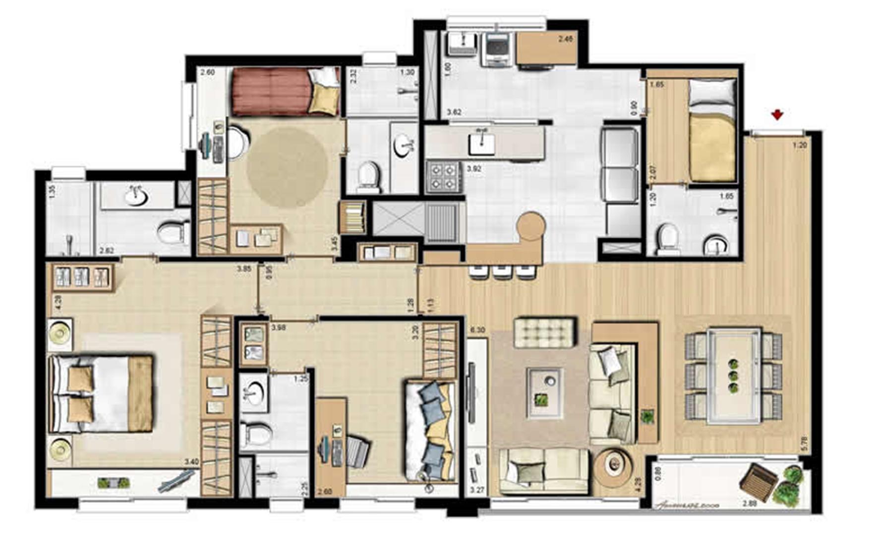 Sacada Integrada – Sugestão de Decoração - 113 m² privativos e 175 m² área total (2) | Villa Mimosa Vita Insolaratta – Apartamento no  Centro - Canoas - Rio Grande do Sul