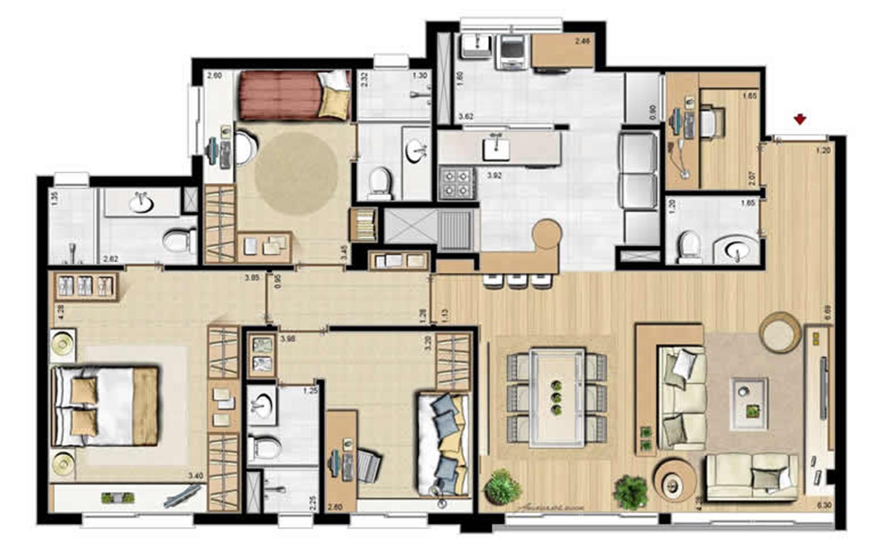 Sacada Integrada – Sugestão de Decoração - 113 m² privativos e 175 m² área total | Villa Mimosa Vita Insolaratta – Apartamento no  Centro - Canoas - Rio Grande do Sul