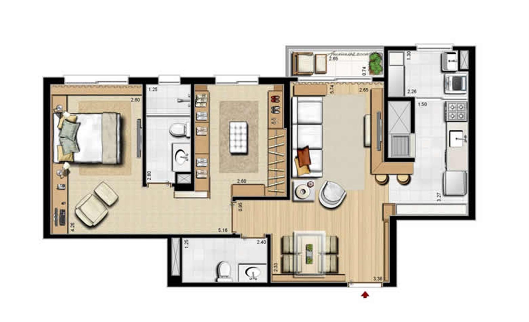 Opção suíte master e lavabo - 68 m² privativos e 105 m² área total | Villa Mimosa Vita Insolaratta – Apartamento no  Centro - Canoas - Rio Grande do Sul