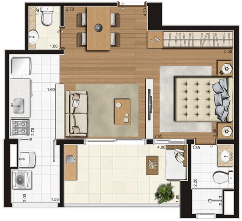 Planta-opção ilustrada do apartamento de 47 m² privativos, finais 3, 4, 7 e 8 | Tempo Bello – Apartamentono  Campo Belo - São Paulo - São Paulo