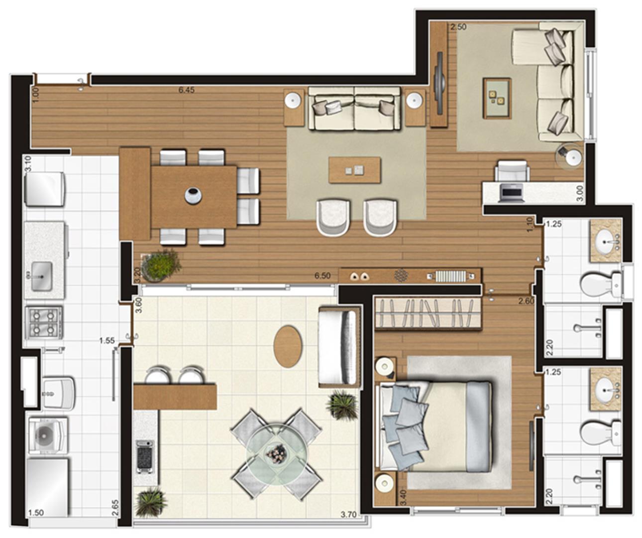 Planta-tipo ilustrada do apartamento de 73 m² privativos, finais 1 e 2 | Tempo Bello – Apartamento no  Campo Belo - São Paulo - São Paulo