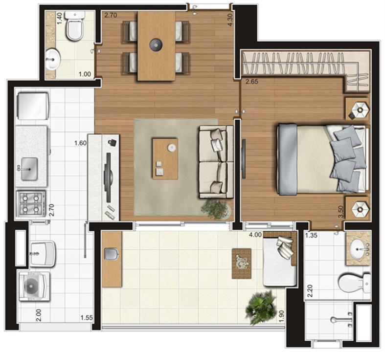 Planta-tipo ilustrada do apartamento de 47 m² privativos, finais 3, 4, 7 e 8 | Tempo Bello – Apartamentono  Campo Belo - São Paulo - São Paulo